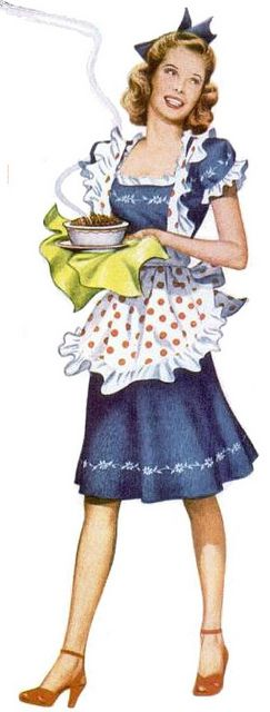 Serving up some lovin' from the oven in an adorable frilly polka dot print apron. #vintage #1940s #apron #homemaker #housewife #polka_dots #cooking #food