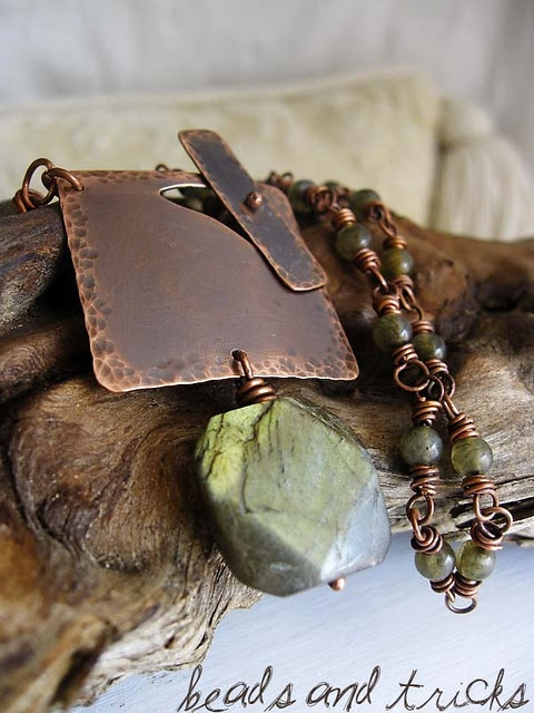 Newborn {Labradorite and copper necklace, ooak}