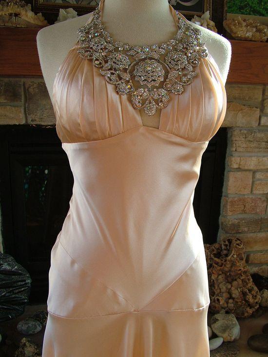 Wedding dress vintage 1930s inspired peach charmuese bias cut bridal gown red carpet satin reception dress. $435.00, via Etsy.