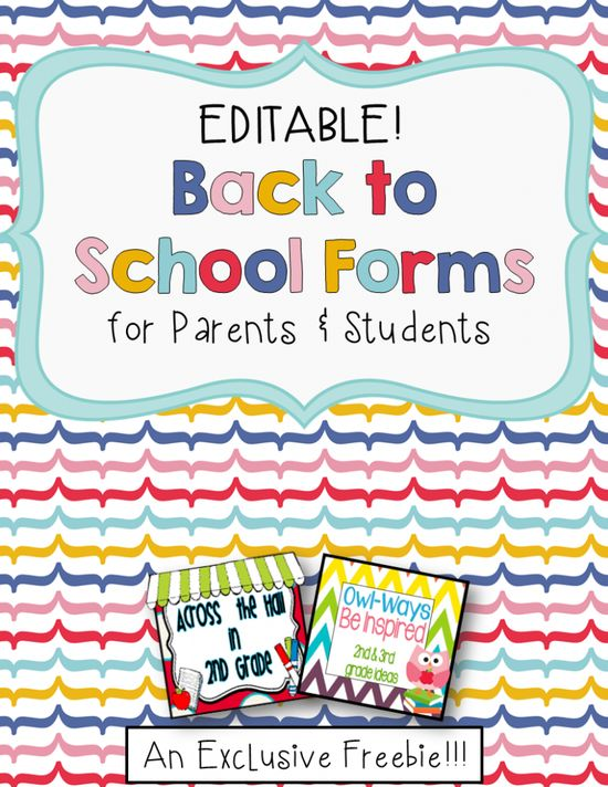 {{Editable}} Back to School Forms for Students & Parents {FREE!}