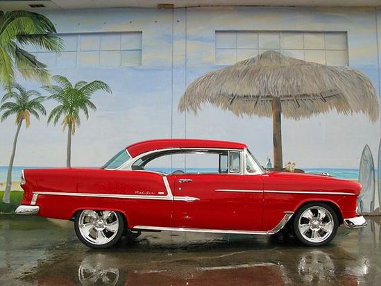 Red 55 Chevy digitalcarworldtv... has the best modified cars around the world. #cars&motorcycles #babes #modcars #super #fast #hot #wow