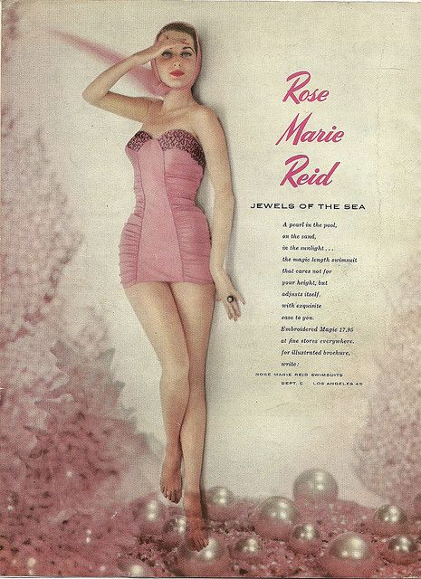 An femininely lovely 1950s Rose Marie Reid swimsuit ad. #vintage #1950s #fashion #swimwear #summer