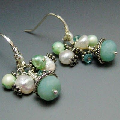 Colorful sterling silver earrings wire wrapped with freshwater pearls, aqua amazonite and apatite.