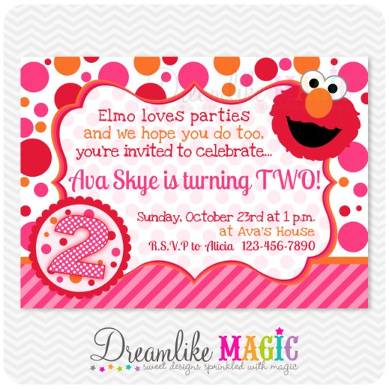 Printable Party Invitation-Girly Elmo Pink Orange and Red Design. $15.00, via Etsy.