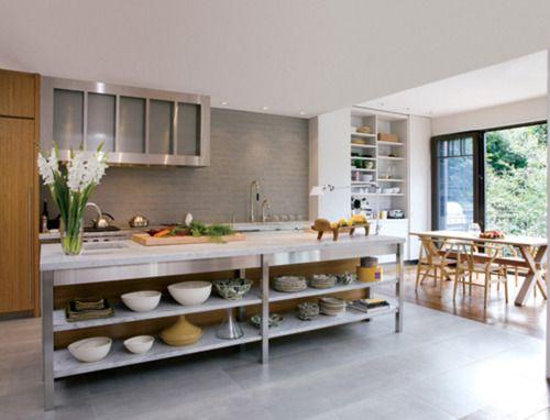 Modern kitchen with native art