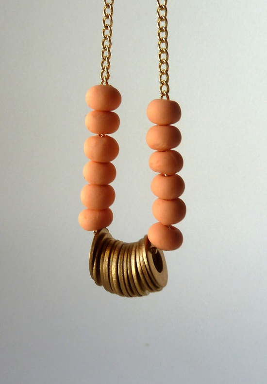 peach beaded necklace #necklace #brass #gold #beaded #discs #handmade #ooak #ammjewelry