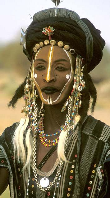 man in ceremonial costume, niger, west africa. wo'dabe