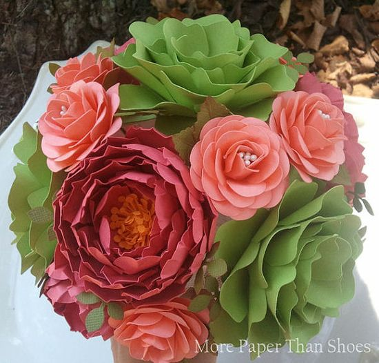 Guava and Green Paper Flower Bouquet