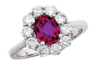 Red Tourmaline Diamond Ring.