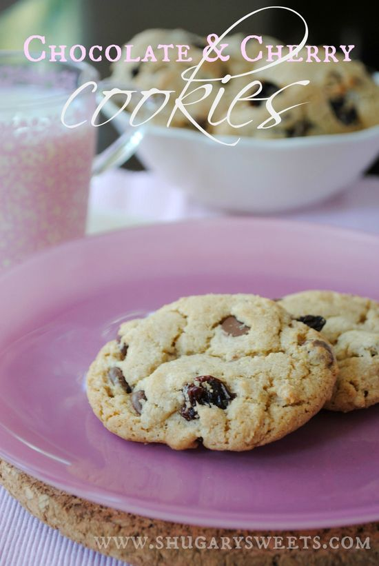 Chocolate and Cherry Cookies- milk chocolate morsels with dried cherries, a perfect winter cookie combination! #cherry #chocolate @shugarysweets