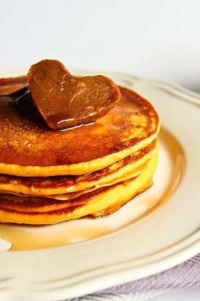 pumpkin pancakes with cinnamon butter.