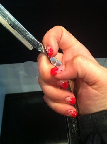 blood splatter dexter inspired nails - Nail Art Gallery by NAILS Magazine