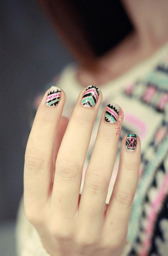 Poncho nail #winter #nailart #cute #nails