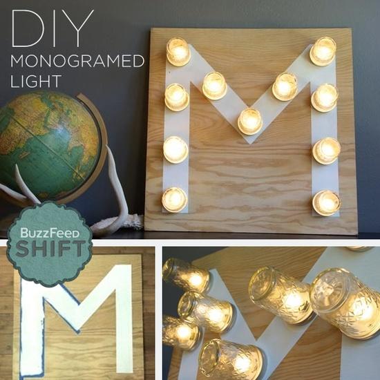 Make a monogramed light using Mason jars