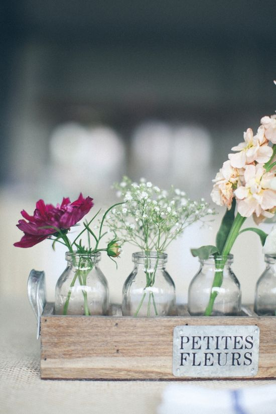 rustic table decoration or centrepiece idea. #wedding #reception #decorations