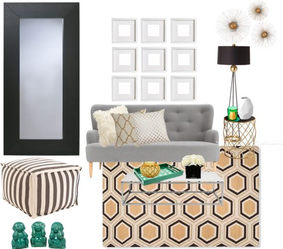 green, gold, white, and black home office design