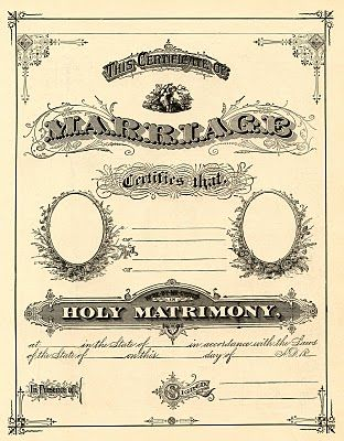 Antique Ephemera printable marriage certificate