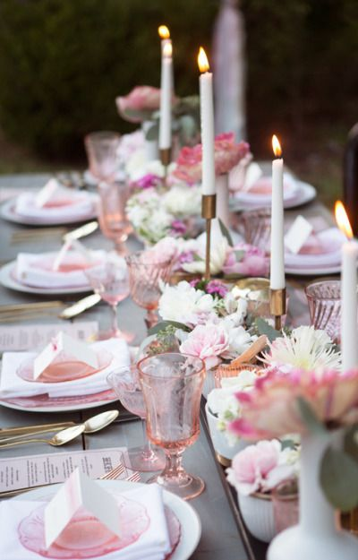 Pink tablescape #Pastel #Wedding ideas for #Same #Sex #Wedding… Wedding ideas for brides, grooms, parents & planners itunes.apple.com/... … plus how to organise an entire wedding, within ANY budget ? The Gold Wedding Planner iPhone #App ? For more pinterest.com/...