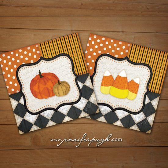 Whimsical Candy Corn Pumpkin Set of 2