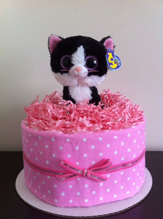 One Tier Receiving Blanket Kitty Cat Cake by BabeeCakesBoutique, $32.50