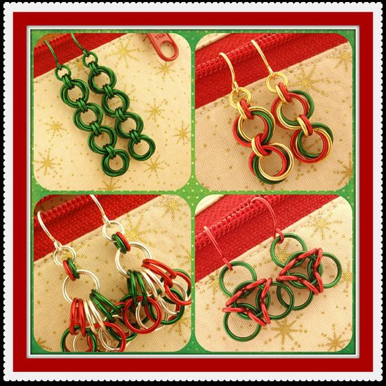 FOUR Earring Styles  Christmas Kit  - Chainmaille earrings - Great gifts. $ 35.00, via Etsy.