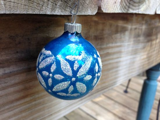 Vintage Blue Christmas Ornament by 4DogCafe on Etsy, $5.00