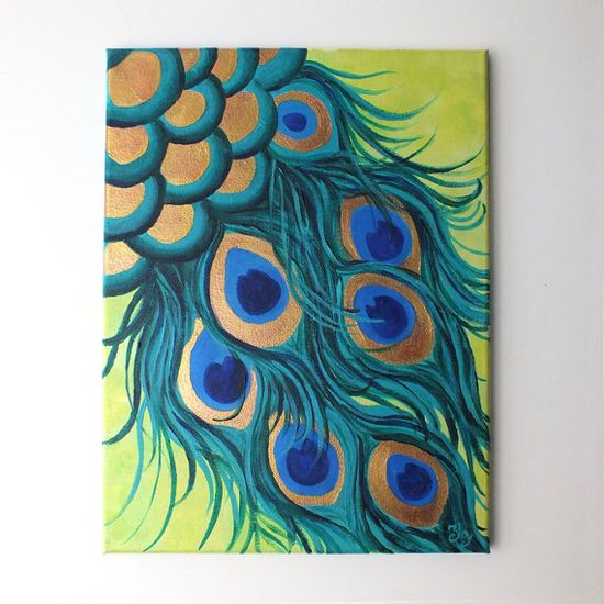 Original Painting PEACOCK FEATHERS 12x16 acrylic canvas by nJoyArt #art #decor #feathers #peacock #painting