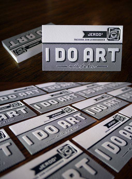 """Only a tattoo artist could get away with dropping the F bomb on his business card    """"Tattoo Letterpress Card  Letterpress Business cards printed on 236lb cotton paper. Designed and printed by Print for tattoo artist Jerod Squared.  By Print and Grain"""""""