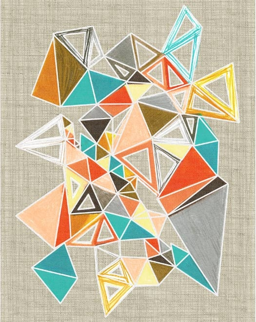 PRECIPICE SERIES BY CRYSTAL JACKSON/POLYMORPHIA // Crystal Jackson's Precipice series includes this crystalline concoction of mid-century triangles. Also known as Polymorphia, Jackson's focus is on simple geometric shapes that pack a punch of colour.