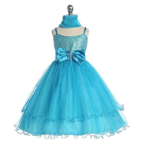 Chic Baby Girl Turquoise Sequin Flower Girl Pageant « Clothing Impulse