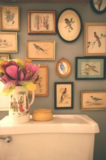 Bird prints in a bathroom.