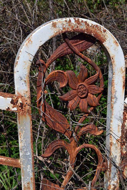 rusty iron garden gate