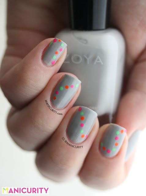 Neon Dotty Garland Nails