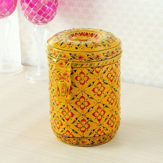 Kaushalam Cookie Jar Yellow & Red - FabFurnish.com-Kitchen-Decor