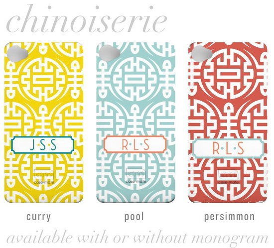 NEW Chinoiserie Collection - Custom iPhone 4 Case with Monogram. $39.99, via Etsy.