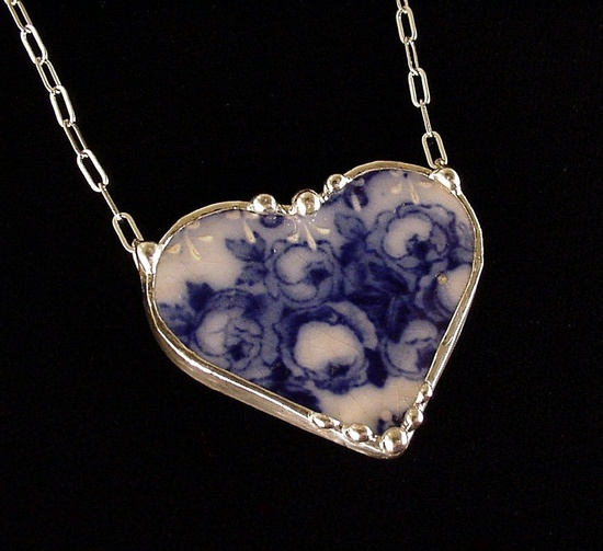 Antique flow blue roses necklace made from a broken china plate by Dishfunctional Designs