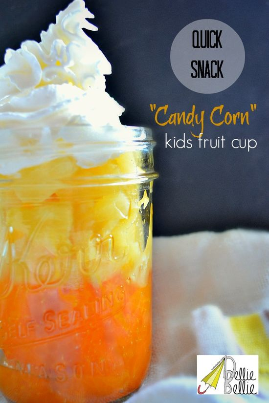 "Make ""candy corn"" fruit cups"