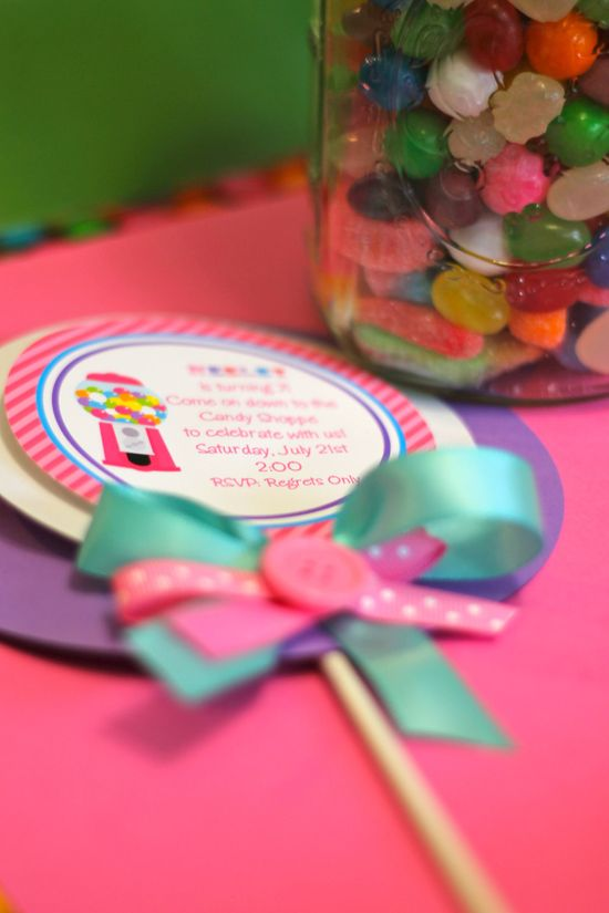 Candy Land Birthday Party Invitations, Personalized and Printed Candy Shoppe Birthday Party Invitations. $30.00, via Etsy.