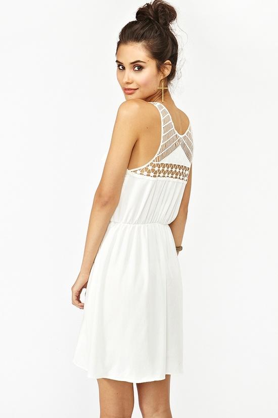 Geo Crochet White Dress - Nasty Gal