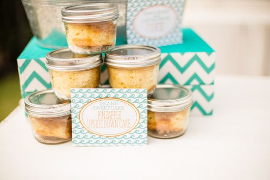 Jars favors at a Beach baby shower!   See more party ideas at CatchMyParty.com!  #partyideas  #babyshower