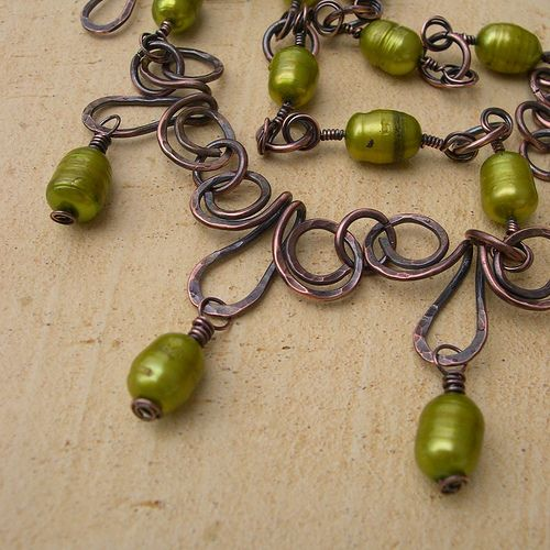Green Intrigue, via Flickr.  Another variant of Egyptian spirals, used differently.  #wire #jewelry