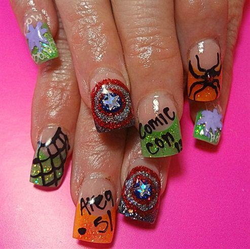 Comic Con by dcgroves - Nail Art Gallery nailartgallery.na... by Nails Magazine www.nailsmag.com #nailart