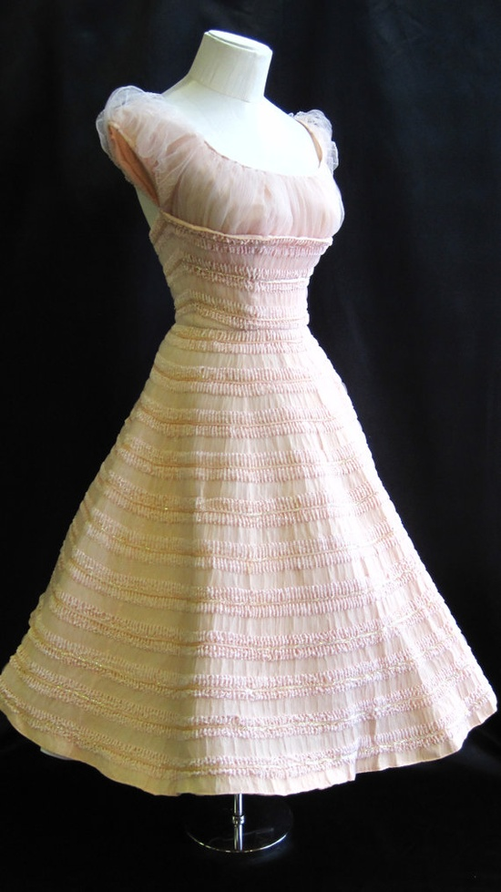 1950's Pink Tulle and Chenille Dress with Sequins