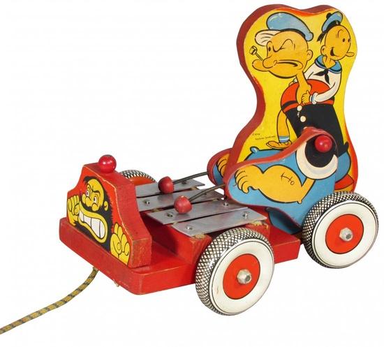 Popeye & Sweet Pea Xylophone Wood Pull Toy