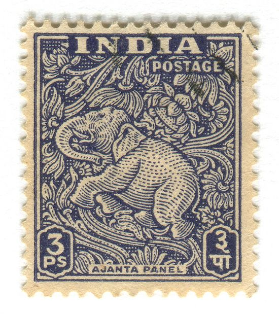 India Postage Stamp: Ajanta Caves Elephant. c. 1949