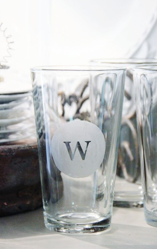 Turn Dollar Store Glasses into Custom Monograms.