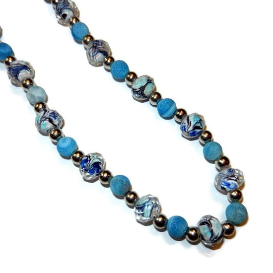 Shades of Blue and Silver Beaded Necklace by CloudNineDesignz, $50.00