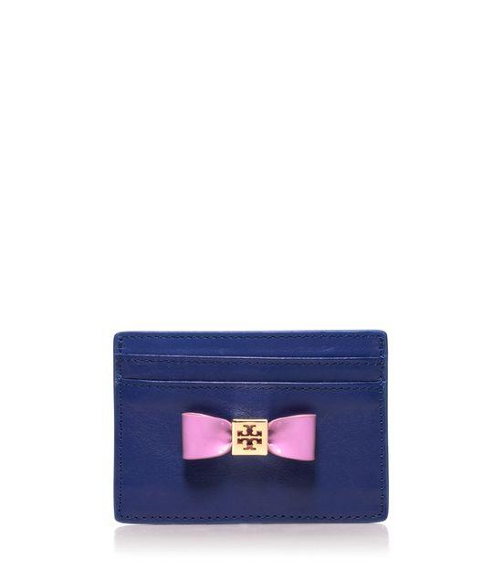 Tory Burch bow slim card case.