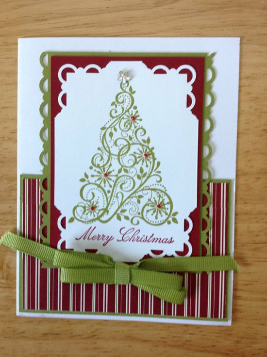 Stampin Up handmade Christmas card  elegent tree by treehouse05, $4.50