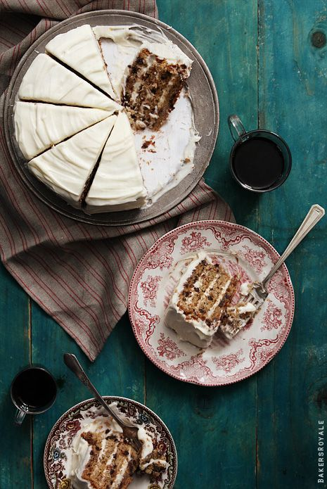 Chocolate Chip Banana Cake with cream cheese frosting